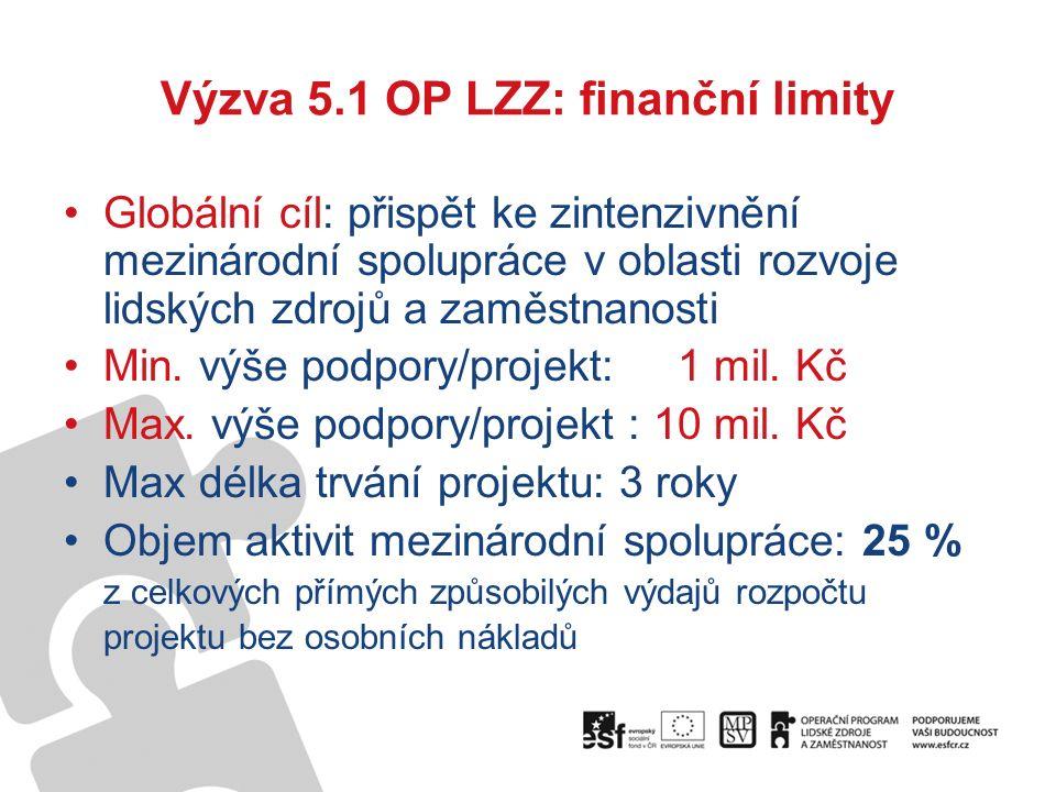 Výzva 5.1 OP LZZ: finanční limity Globální cíl: přispět ke zintenzivnění mezinárodní spolupráce v oblasti rozvoje lidských zdrojů a zaměstnanosti Min.