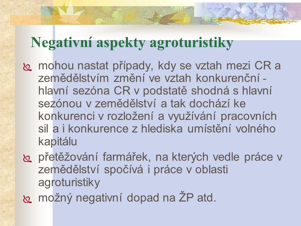 Negativní aspekty agroturistiky  mohou nastat případy, kdy se vztah mezi CR a zemědělstvím změní ve vztah konkurenční - hlavní sezóna CR v podstatě s