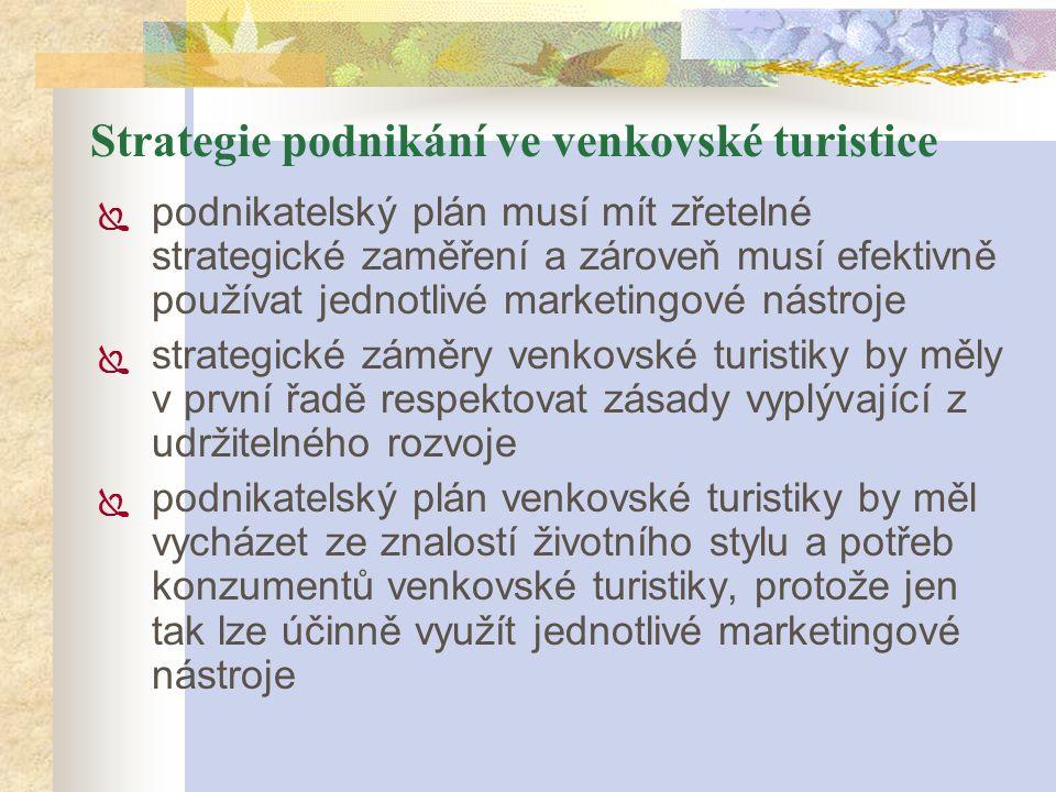 Strategie podnikání ve venkovské turistice  podnikatelský plán musí mít zřetelné strategické zaměření a zároveň musí efektivně používat jednotlivé ma