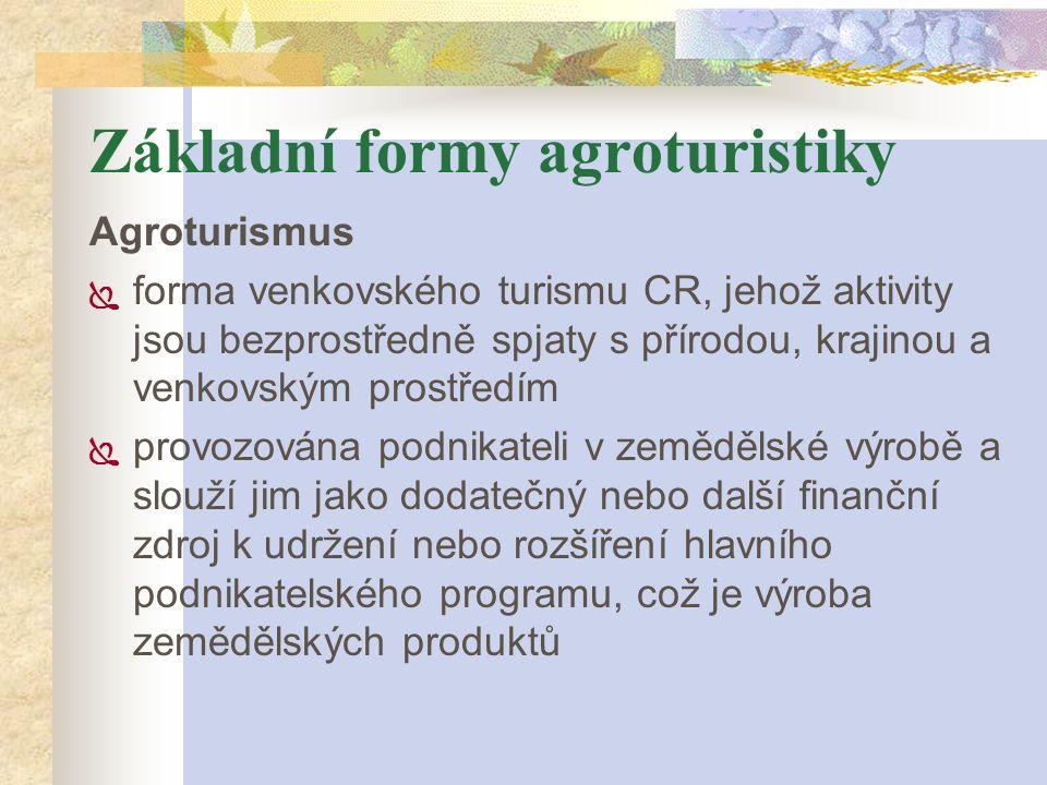Základní formy agroturistiky Agroturismus  forma venkovského turismu CR, jehož aktivity jsou bezprostředně spjaty s přírodou, krajinou a venkovským p