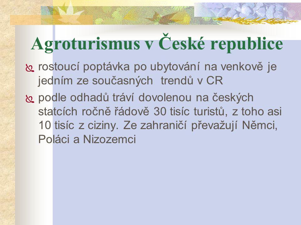 Agroturismus v České republice  rostoucí poptávka po ubytování na venkově je jedním ze současných trendů v CR  podle odhadů tráví dovolenou na český