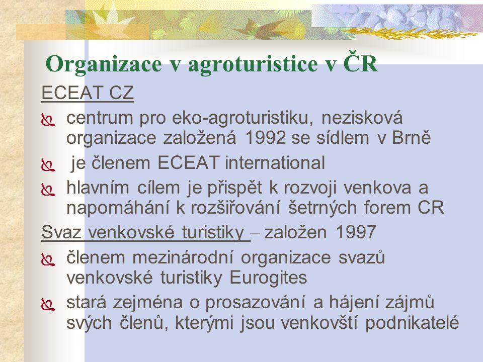 Organizace v agroturistice v ČR ECEAT CZ  centrum pro eko-agroturistiku, nezisková organizace založená 1992 se sídlem v Brně  je členem ECEAT intern