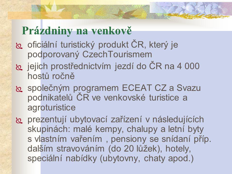 Prázdniny na venkově  oficiální turistický produkt ČR, který je podporovaný CzechTourismem  jejich prostřednictvím jezdí do ČR na 4 000 hostů ročně