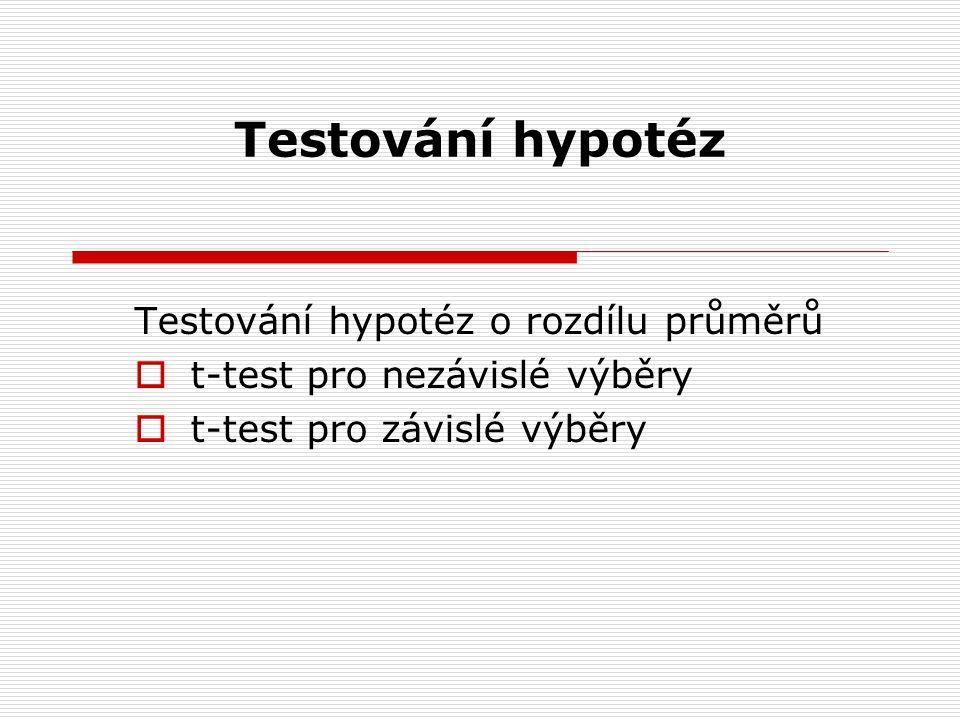 Testování hypotéz Testování hypotéz o rozdílu průměrů  t-test pro nezávislé výběry  t-test pro závislé výběry