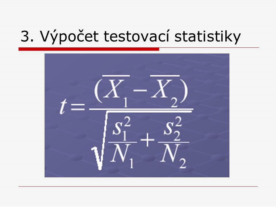 3. Výpočet testovací statistiky
