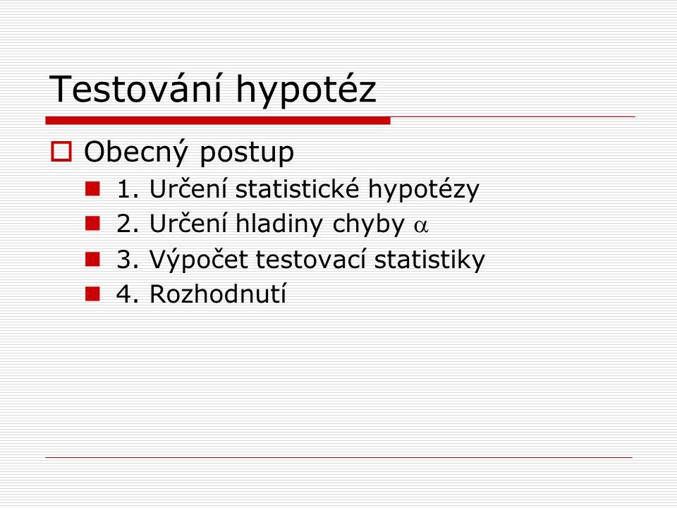 Testování hypotéz  Obecný postup 1. Určení statistické hypotézy 2.
