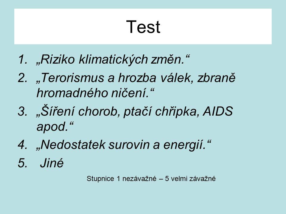 """Test 1.""""Riziko klimatických změn. 2.""""Terorismus a hrozba válek, zbraně hromadného ničení. 3.""""Šíření chorob, ptačí chřipka, AIDS apod. 4.""""Nedostatek surovin a energií. 5."""