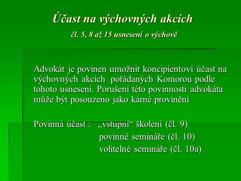 Účast na výchovných akcích čl.