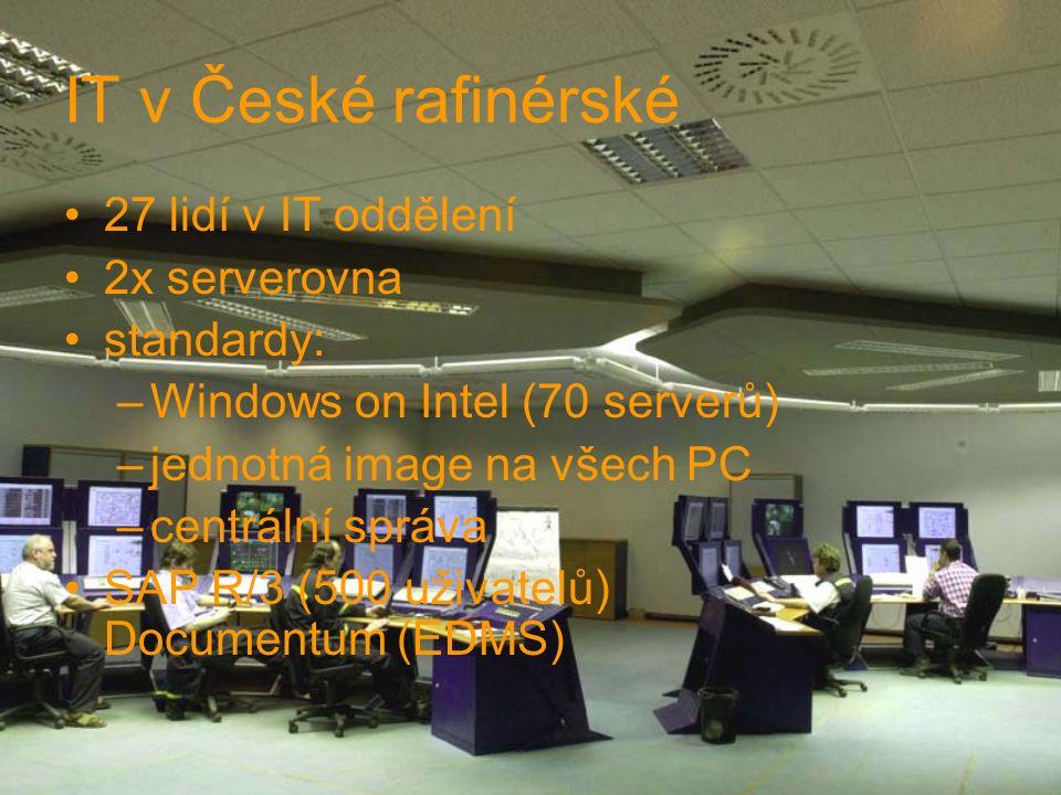 IT v České rafinérské 27 lidí v IT oddělení 2x serverovna standardy: –Windows on Intel (70 serverů) –jednotná image na všech PC –centrální správa SAP R/3 (500 uživatelů) Documentum (EDMS)