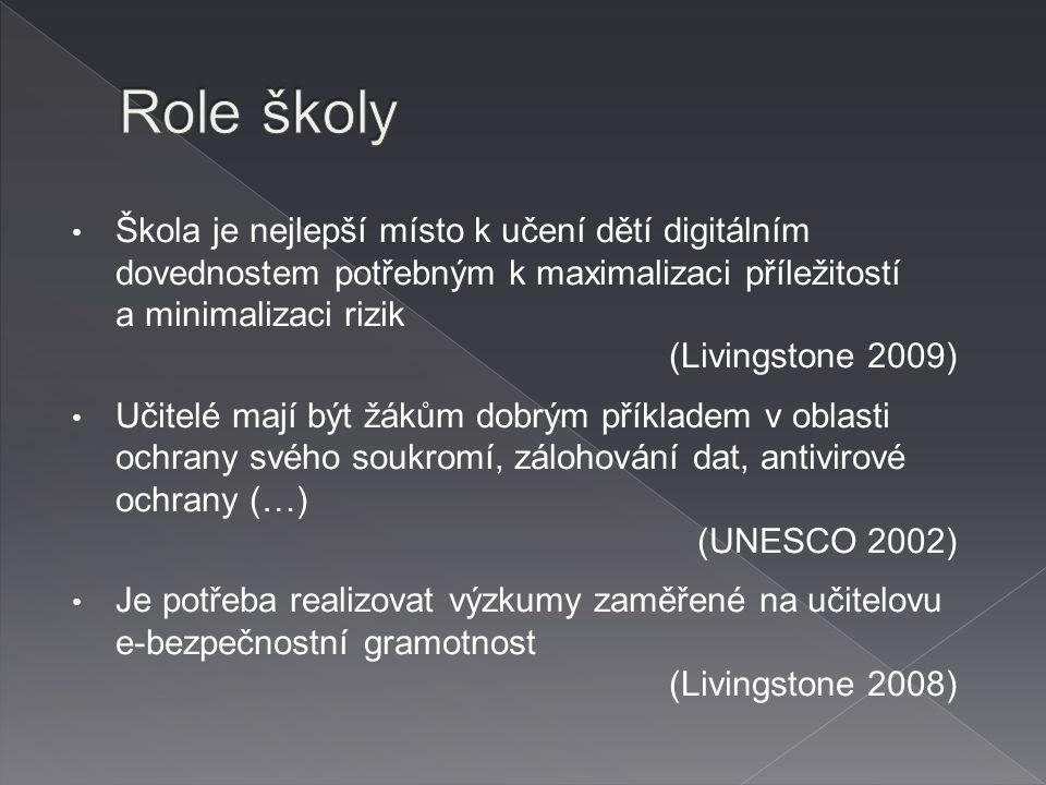 Škola je nejlepší místo k učení dětí digitálním dovednostem potřebným k maximalizaci příležitostí a minimalizaci rizik (Livingstone 2009) Učitelé mají být žákům dobrým příkladem v oblasti ochrany svého soukromí, zálohování dat, antivirové ochrany (…) (UNESCO 2002) Je potřeba realizovat výzkumy zaměřené na učitelovu e-bezpečnostní gramotnost (Livingstone 2008)