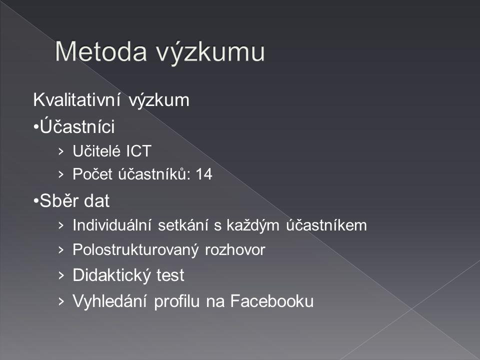Kvalitativní výzkum Účastníci › Učitelé ICT › Počet účastníků: 14 Sběr dat › Individuální setkání s každým účastníkem › Polostrukturovaný rozhovor › Didaktický test › Vyhledání profilu na Facebooku