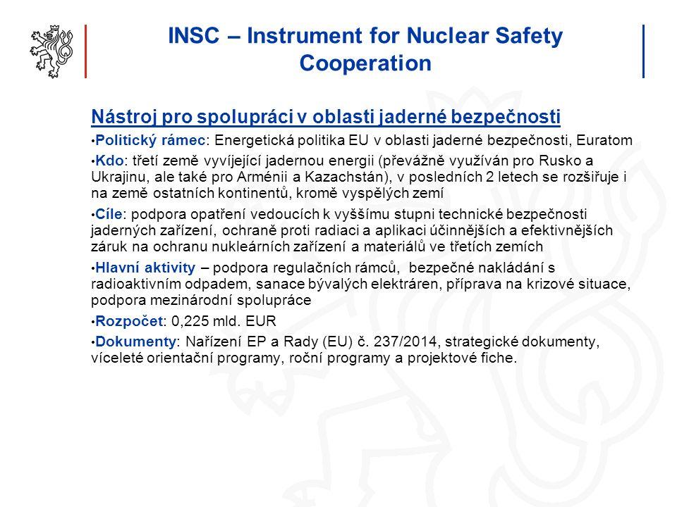 INSC – Instrument for Nuclear Safety Cooperation Nástroj pro spolupráci v oblasti jaderné bezpečnosti Politický rámec: Energetická politika EU v oblas