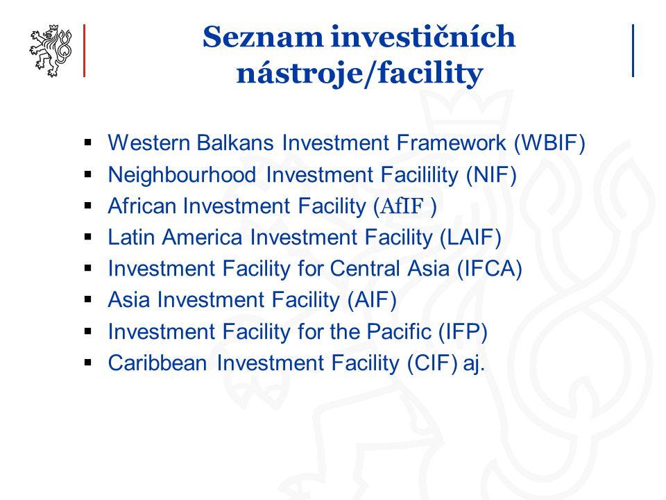 Seznam investičních nástroje/facility  Western Balkans Investment Framework (WBIF)  Neighbourhood Investment Facilility (NIF)  African Investment Facility ( AfIF )  Latin America Investment Facility (LAIF)  Investment Facility for Central Asia (IFCA)  Asia Investment Facility (AIF)  Investment Facility for the Pacific (IFP)  Caribbean Investment Facility (CIF) aj.