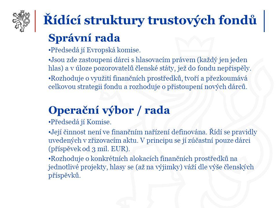 Řídící struktury trustových fondů Správní rada Předsedá jí Evropská komise. Jsou zde zastoupeni dárci s hlasovacím právem (každý jen jeden hlas) a v ú
