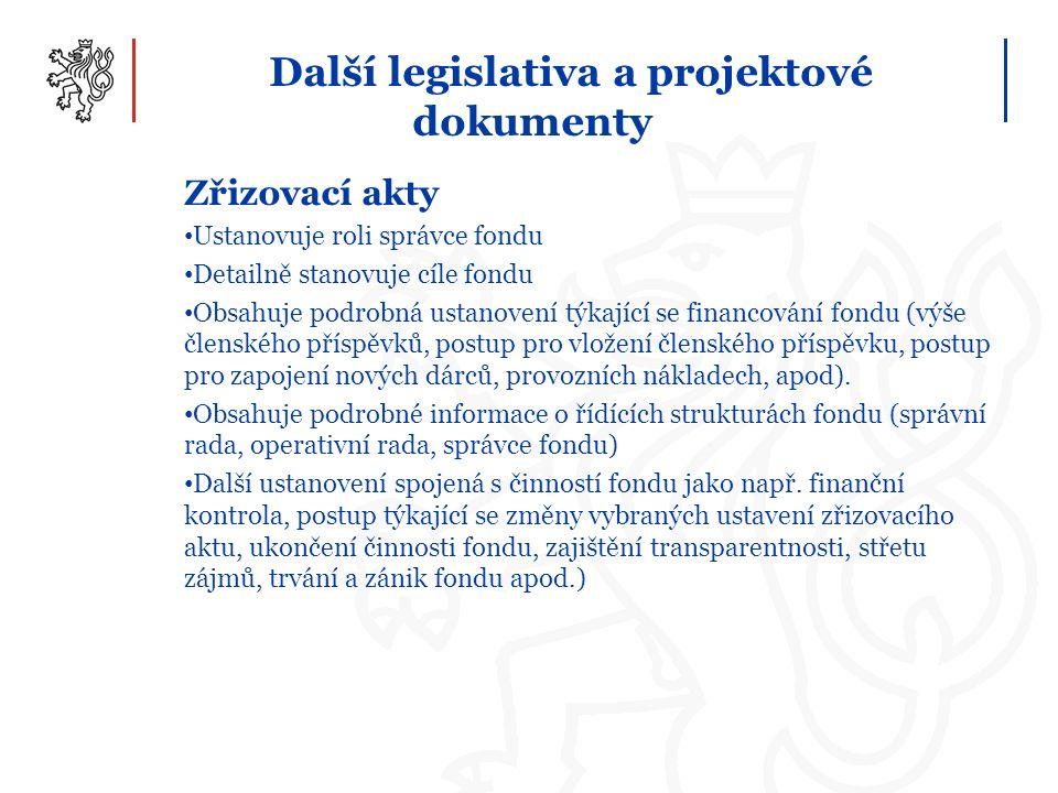 Další legislativa a projektové dokumenty Zřizovací akty Ustanovuje roli správce fondu Detailně stanovuje cíle fondu Obsahuje podrobná ustanovení týkající se financování fondu (výše členského příspěvků, postup pro vložení členského příspěvku, postup pro zapojení nových dárců, provozních nákladech, apod).