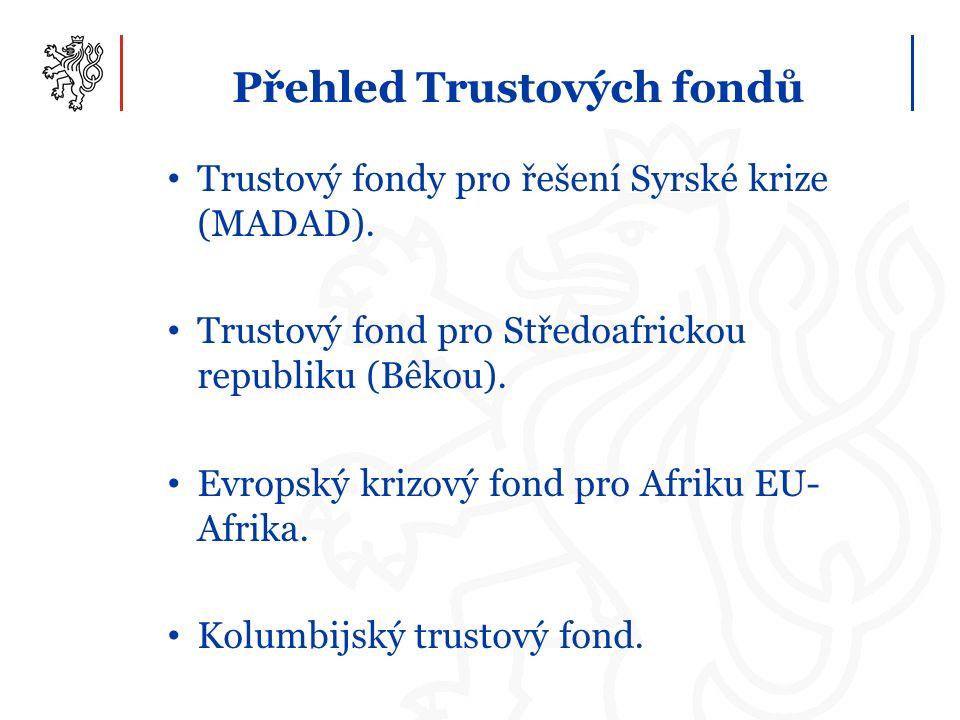 Přehled Trustových fondů Trustový fondy pro řešení Syrské krize (MADAD). Trustový fond pro Středoafrickou republiku (Bêkou). Evropský krizový fond pro