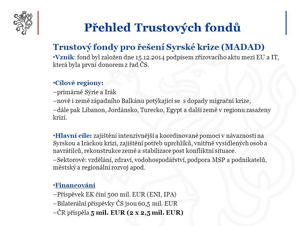 Přehled Trustových fondů Trustový fondy pro řešení Syrské krize (MADAD) Vznik: fond byl založen dne 15.12.2014 podpisem zřizovacího aktu mezi EU a IT, která byla první donorem z řad ČS.