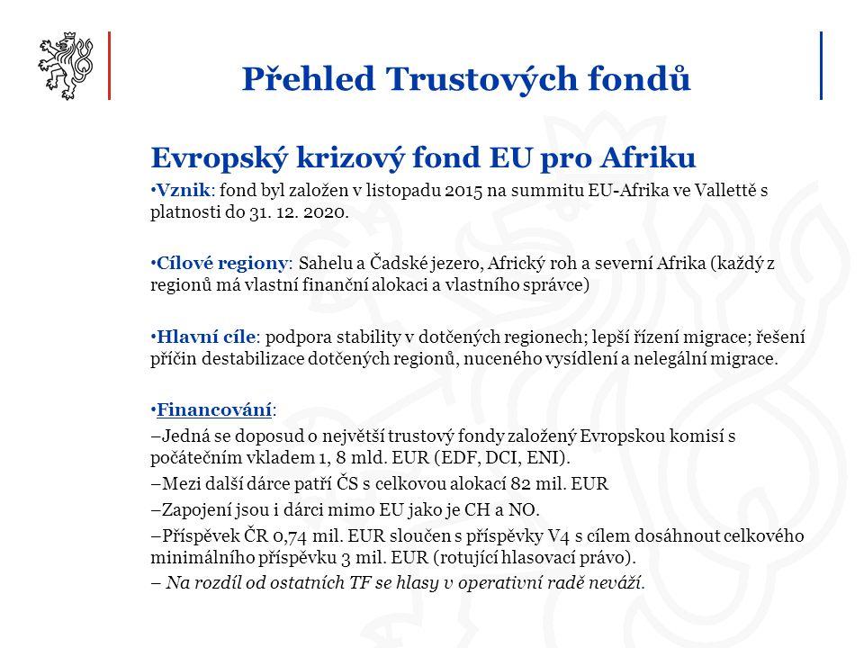 Přehled Trustových fondů Evropský krizový fond EU pro Afriku Vznik: fond byl založen v listopadu 2015 na summitu EU-Afrika ve Vallettě s platnosti do 31.