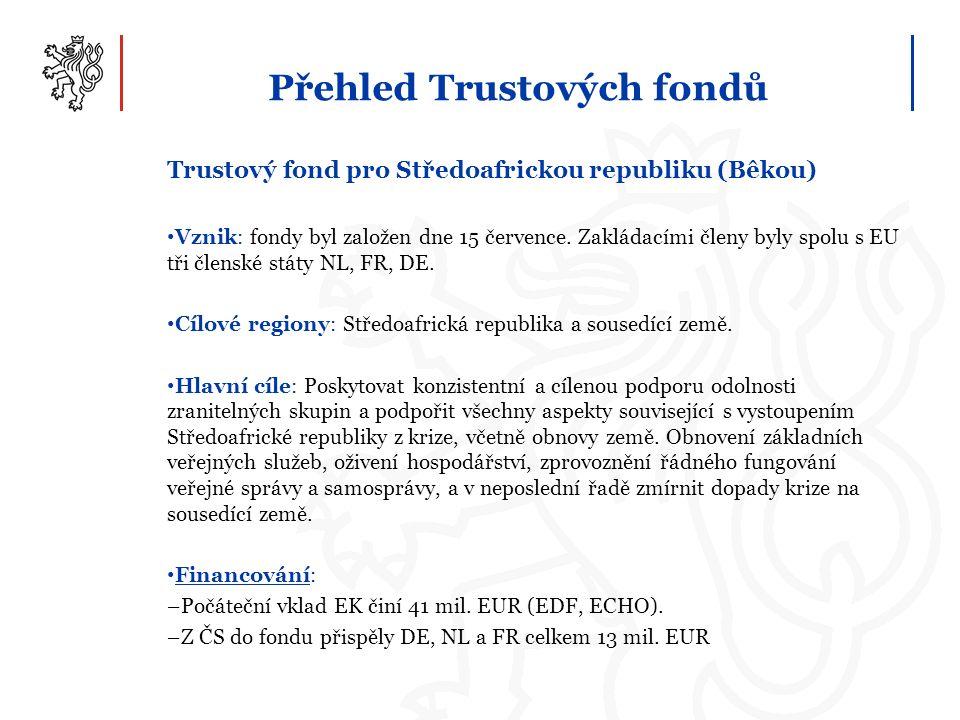 Přehled Trustových fondů Trustový fond pro Středoafrickou republiku (Bêkou) Vznik: fondy byl založen dne 15 července. Zakládacími členy byly spolu s E