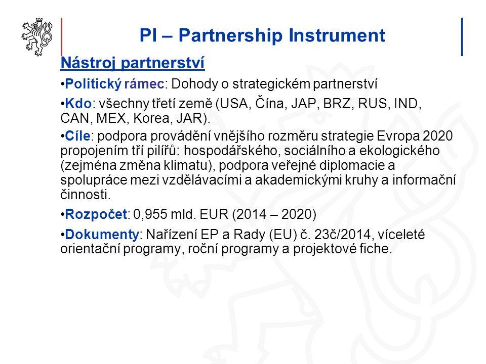 PI – Partnership Instrument Nástroj partnerství Politický rámec: Dohody o strategickém partnerství Kdo: všechny třetí země (USA, Čína, JAP, BRZ, RUS, IND, CAN, MEX, Korea, JAR).