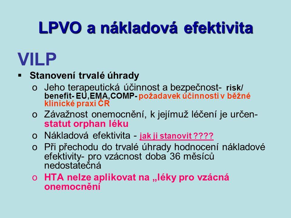 LPVO a nákladová efektivita VILP  Stanovení trvalé úhrady oJeho terapeutická účinnost a bezpečnost- risk/ benefit- EU,EMA,COMP- požadavek účinnosti v běžné klinické praxi ČR oZávažnost onemocnění, k jejímuž léčení je určen- statut orphan léku oNákladová efektivita - jak ji stanovit .