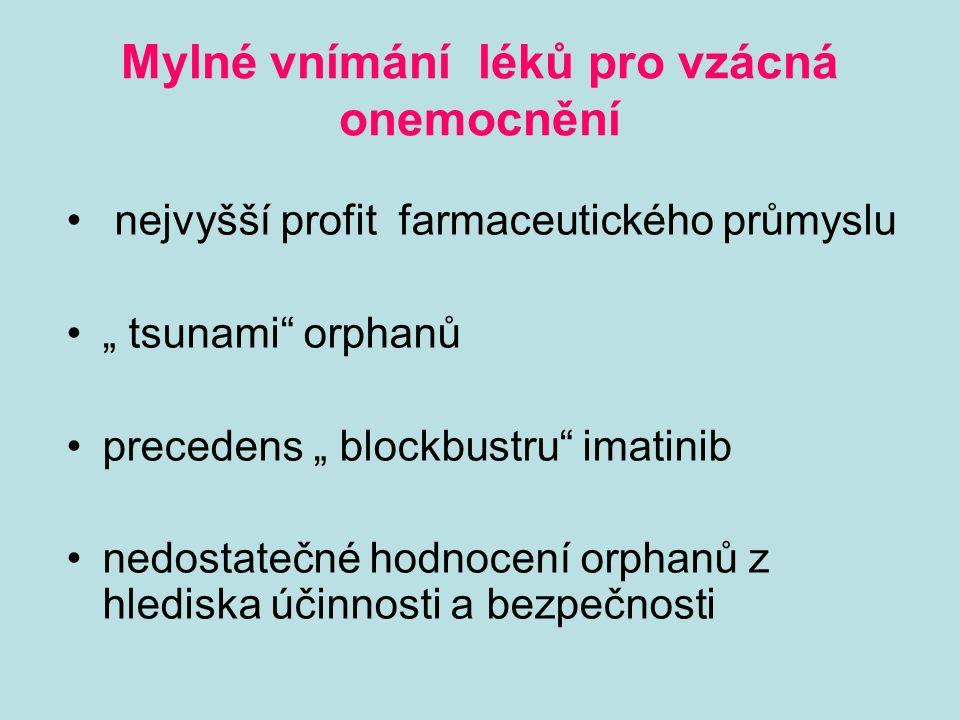 """Mylné vnímání léků pro vzácná onemocnění nejvyšší profit farmaceutického průmyslu """" tsunami orphanů precedens """" blockbustru imatinib nedostatečné hodnocení orphanů z hlediska účinnosti a bezpečnosti"""