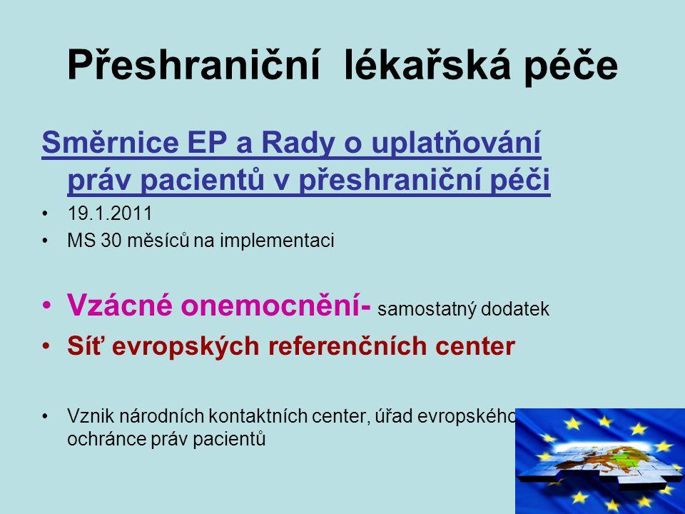 Přeshraniční lékařská péče Směrnice EP a Rady o uplatňování práv pacientů v přeshraniční péči 19.1.2011 MS 30 měsíců na implementaci Vzácné onemocnění- samostatný dodatek Síť evropských referenčních center Vznik národních kontaktních center, úřad evropského ochránce práv pacientů