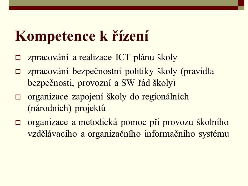 Kompetence k řízení  zpracování a realizace ICT plánu školy  zpracování bezpečnostní politiky školy (pravidla bezpečnosti, provozní a SW řád školy)  organizace zapojení školy do regionálních (národních) projektů  organizace a metodická pomoc při provozu školního vzdělávacího a organizačního informačního systému