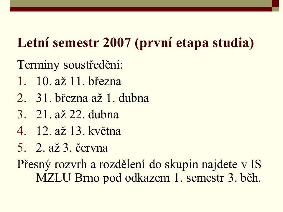 Letní semestr 2007 (první etapa studia) Termíny soustředění: 1.10.