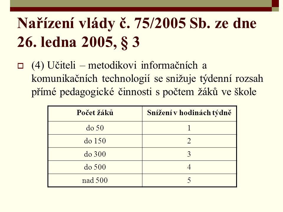 Nařízení vlády č. 75/2005 Sb. ze dne 26.