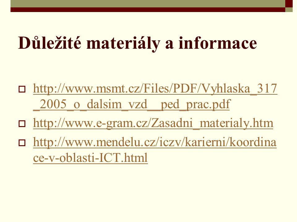 Důležité materiály a informace  http://www.msmt.cz/Files/PDF/Vyhlaska_317 _2005_o_dalsim_vzd__ped_prac.pdf http://www.msmt.cz/Files/PDF/Vyhlaska_317 _2005_o_dalsim_vzd__ped_prac.pdf  http://www.e-gram.cz/Zasadni_materialy.htm http://www.e-gram.cz/Zasadni_materialy.htm  http://www.mendelu.cz/iczv/karierni/koordina ce-v-oblasti-ICT.html http://www.mendelu.cz/iczv/karierni/koordina ce-v-oblasti-ICT.html