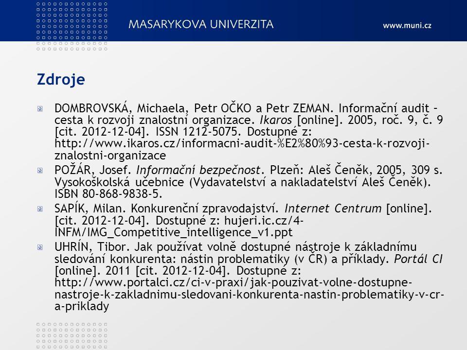 Zdroje DOMBROVSKÁ, Michaela, Petr OČKO a Petr ZEMAN. Informační audit – cesta k rozvoji znalostní organizace. Ikaros [online]. 2005, roč. 9, č. 9 [cit