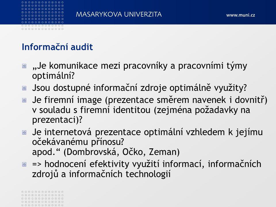 Informační audit Často omezován na zhodnocení IS/IT => základ, ale nestačí Nutné řešit vnitřní i vnější informační procesy v celé organizaci Mnoho různých metodik, obvyklý postup: sběr dat => analýza => vyhodnocení Některé metodiky důraz na využití informačních zdrojů, jiné organizaci zpracování informací Na závěr nutné uvedení řešení nedostatků
