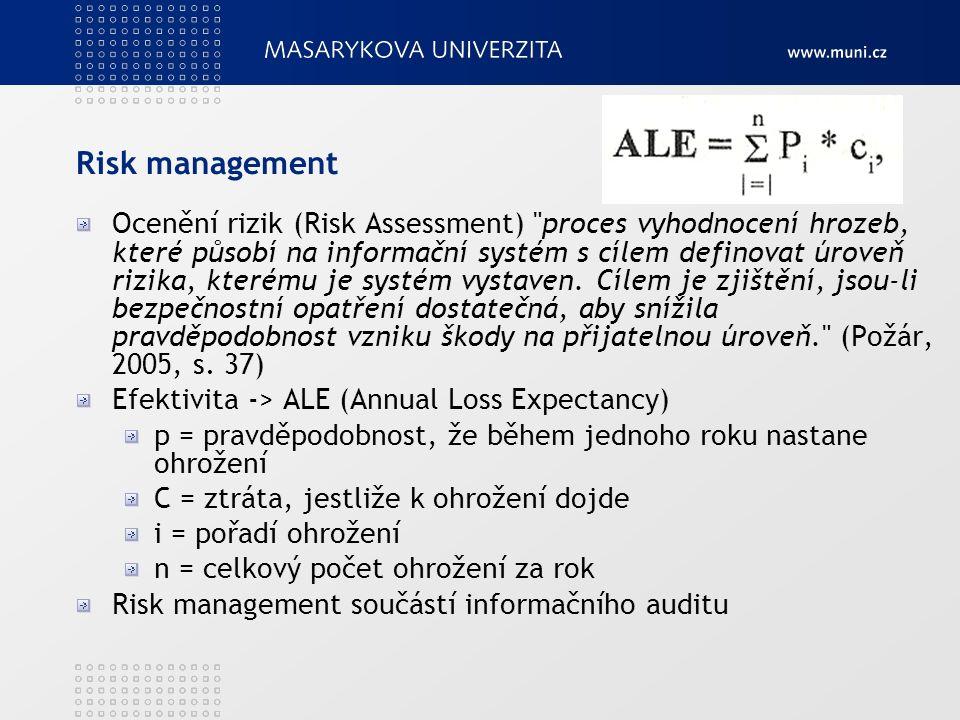 Risk management Ocenění rizik (Risk Assessment) proces vyhodnocení hrozeb, které působí na informační systém s cílem definovat úroveň rizika, kterému je systém vystaven.