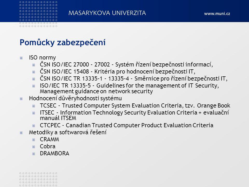 Pomůcky zabezpečení ISO normy ČSN ISO/IEC 27000 - 27002 - Systém řízení bezpečnosti informací, ČSN ISO/IEC 15408 - Kritéria pro hodnocení bezpečnosti IT, ČSN ISO/IEC TR 13335-1 - 13335-4 - Směrnice pro řízení bezpečnosti IT, ISO/IEC TR 13335-5 - Guidelines for the management of IT Security, Management guidance on network security Hodnocení důvěryhodnosti systému TCSEC - Trusted Computer System Evaluation Criteria, tzv.