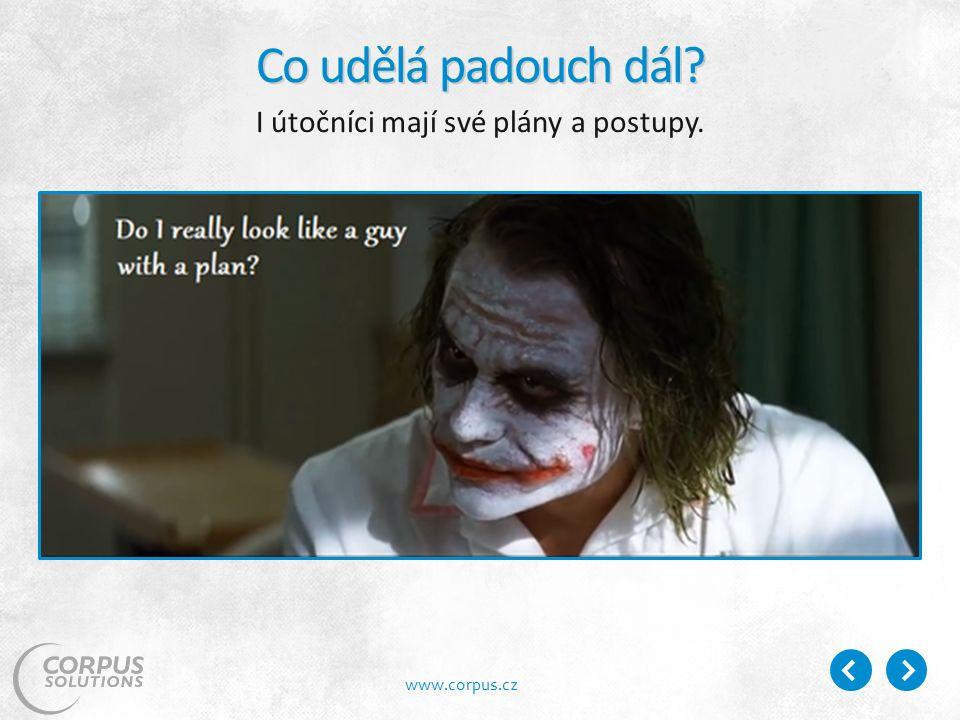 www.corpus.cz Co udělá padouch dál I útočníci mají své plány a postupy.