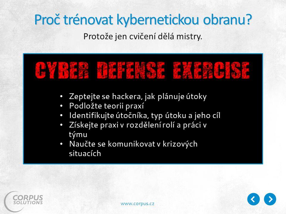 www.corpus.cz Proč trénovat kybernetickou obranu. Protože jen cvičení dělá mistry.