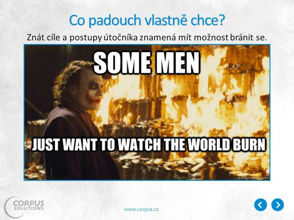 www.corpus.cz Co padouch vlastně chce Znát cíle a postupy útočníka znamená mít možnost bránit se.