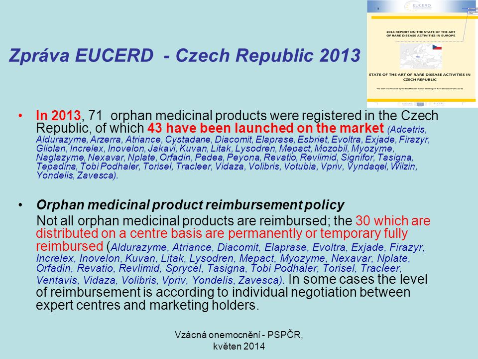 Zpráva EUCERD - Czech Republic 2013 In 2013, 71 orphan medicinal products were registered in the Czech Republic, of which 43 have been launched on the market (Adcetris, Aldurazyme, Arzerra, Atriance, Cystadane, Diacomit, Elaprase, Esbriet, Evoltra, Exjade, Firazyr, Gliolan, Increlex, Inovelon, Jakavi, Kuvan, Litak, Lysodren, Mepact, Mozobil, Myozyme, Naglazyme, Nexavar, Nplate, Orfadin, Pedea, Peyona, Revatio, Revlimid, Signifor, Tasigna, Tepadina, Tobi Podhaler, Torisel, Tracleer, Vidaza, Volibris, Votubia, Vpriv, Vyndaqel, Wilzin, Yondelis, Zavesca).