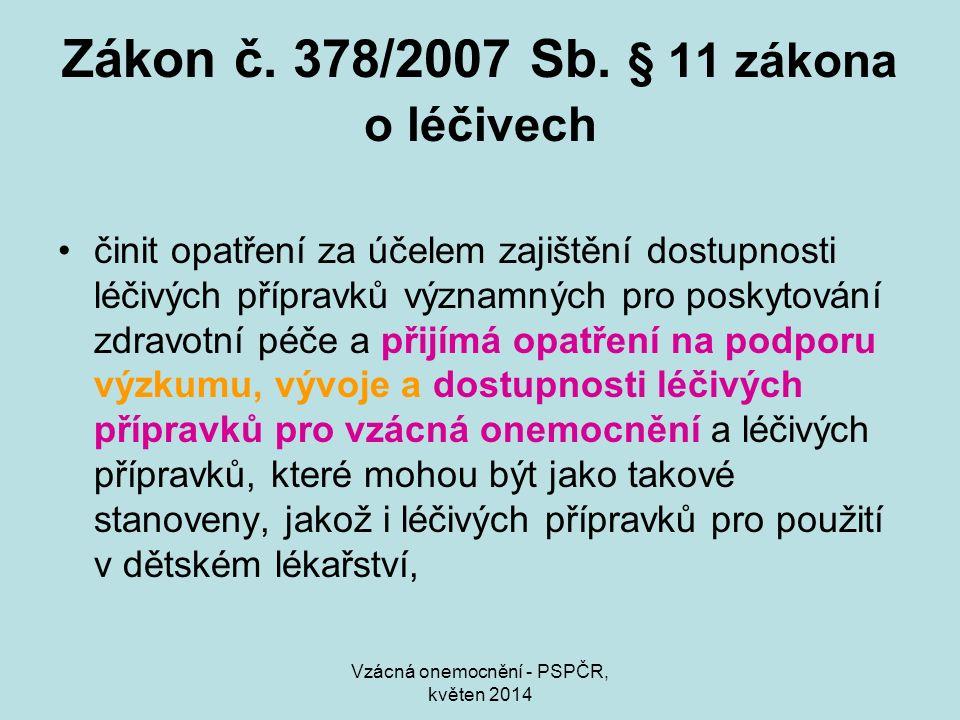 Vzácná onemocnění - PSPČR, květen 2014 Zákon č. 378/2007 Sb. § 11 zákona o léčivech činit opatření za účelem zajištění dostupnosti léčivých přípravků