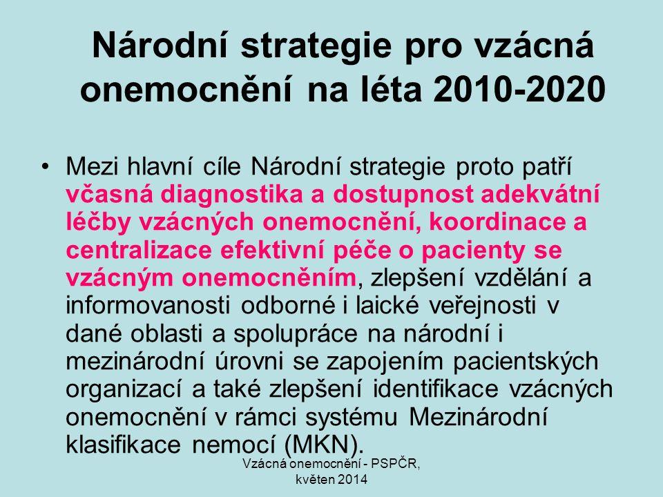 Vzácná onemocnění - PSPČR, květen 2014 Národní strategie pro vzácná onemocnění na léta 2010-2020 Mezi hlavní cíle Národní strategie proto patří včasná diagnostika a dostupnost adekvátní léčby vzácných onemocnění, koordinace a centralizace efektivní péče o pacienty se vzácným onemocněním, zlepšení vzdělání a informovanosti odborné i laické veřejnosti v dané oblasti a spolupráce na národní i mezinárodní úrovni se zapojením pacientských organizací a také zlepšení identifikace vzácných onemocnění v rámci systému Mezinárodní klasifikace nemocí (MKN).