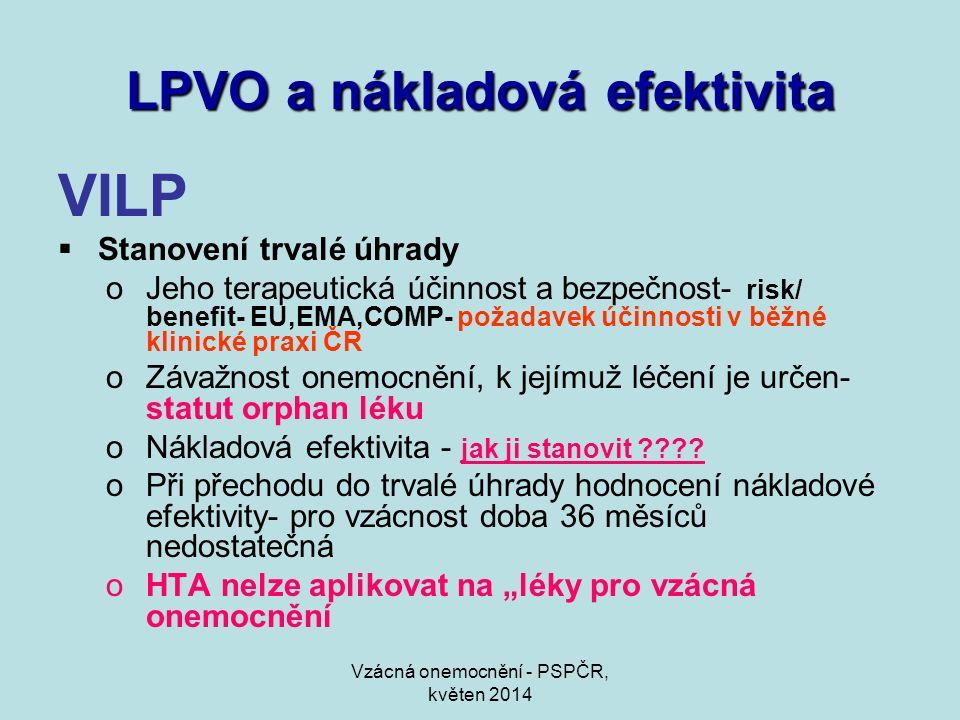 Vzácná onemocnění - PSPČR, květen 2014 LPVO a nákladová efektivita VILP  Stanovení trvalé úhrady oJeho terapeutická účinnost a bezpečnost- risk/ bene
