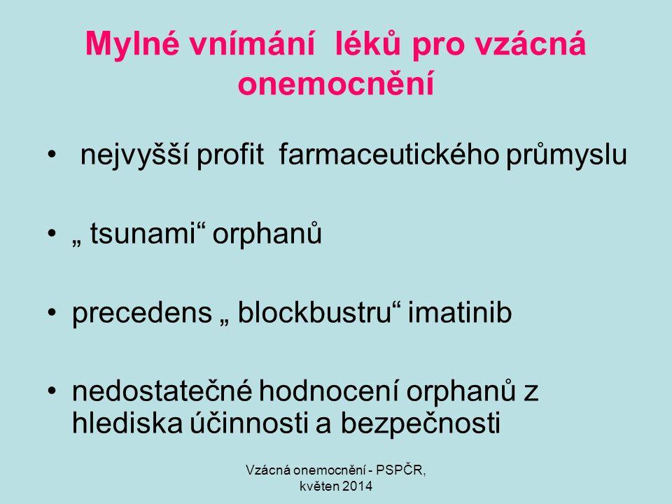 """Vzácná onemocnění - PSPČR, květen 2014 Mylné vnímání léků pro vzácná onemocnění nejvyšší profit farmaceutického průmyslu """" tsunami orphanů precedens """" blockbustru imatinib nedostatečné hodnocení orphanů z hlediska účinnosti a bezpečnosti"""