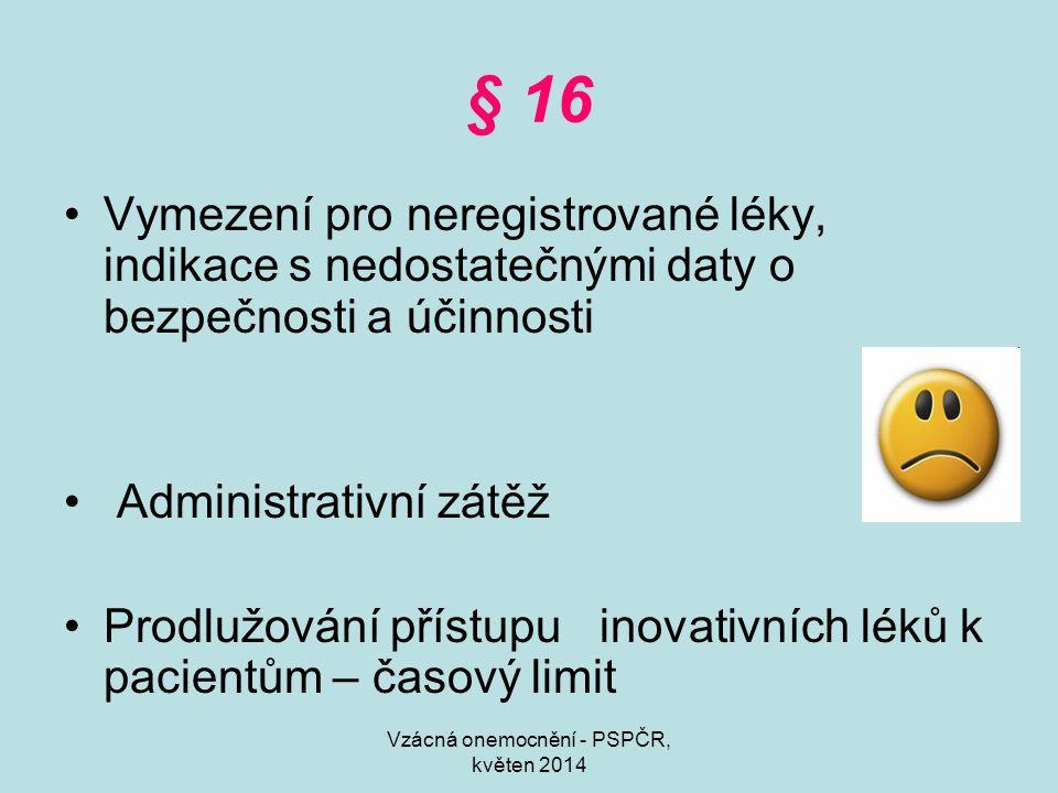 Vzácná onemocnění - PSPČR, květen 2014 § 16 Vymezení pro neregistrované léky, indikace s nedostatečnými daty o bezpečnosti a účinnosti Administrativní zátěž Prodlužování přístupu inovativních léků k pacientům – časový limit