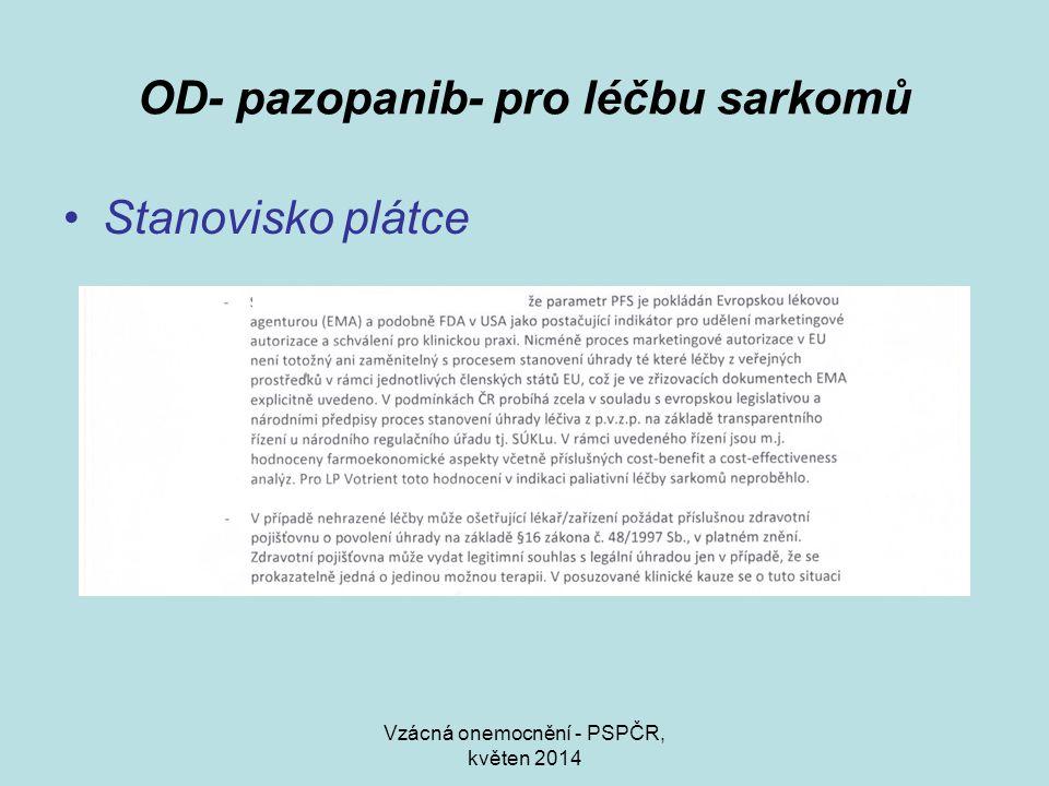 Vzácná onemocnění - PSPČR, květen 2014 OD- pazopanib- pro léčbu sarkomů Stanovisko plátce