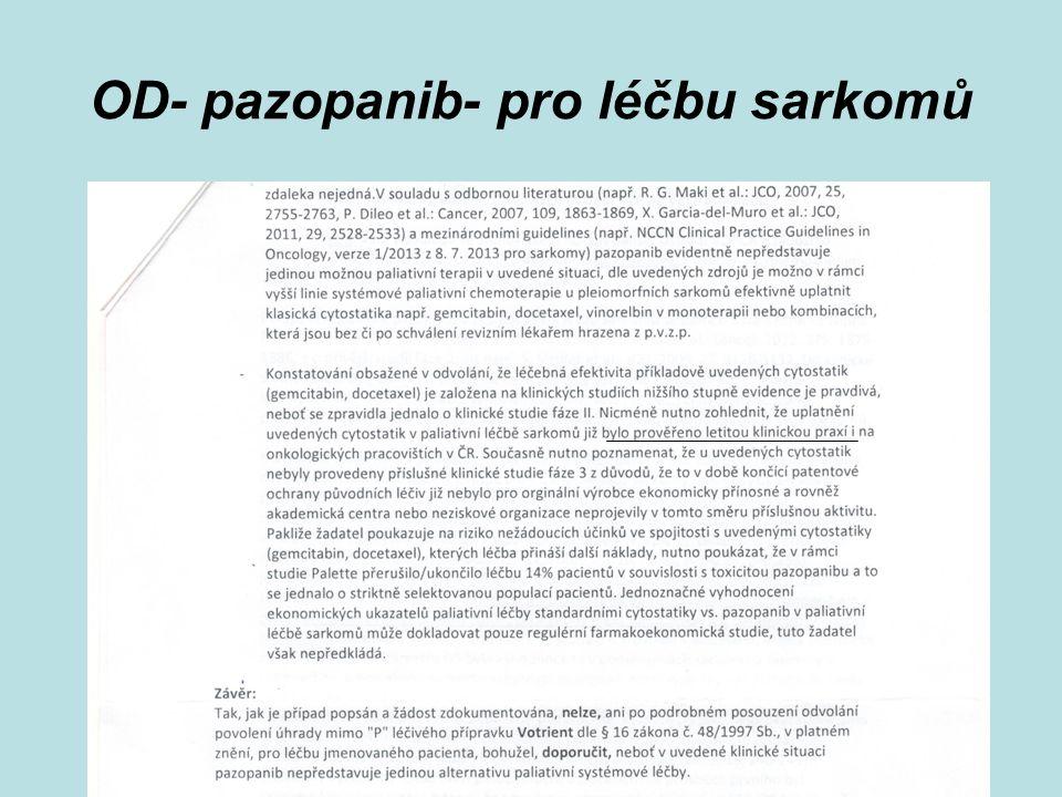 Vzácná onemocnění - PSPČR, květen 2014 OD- pazopanib- pro léčbu sarkomů