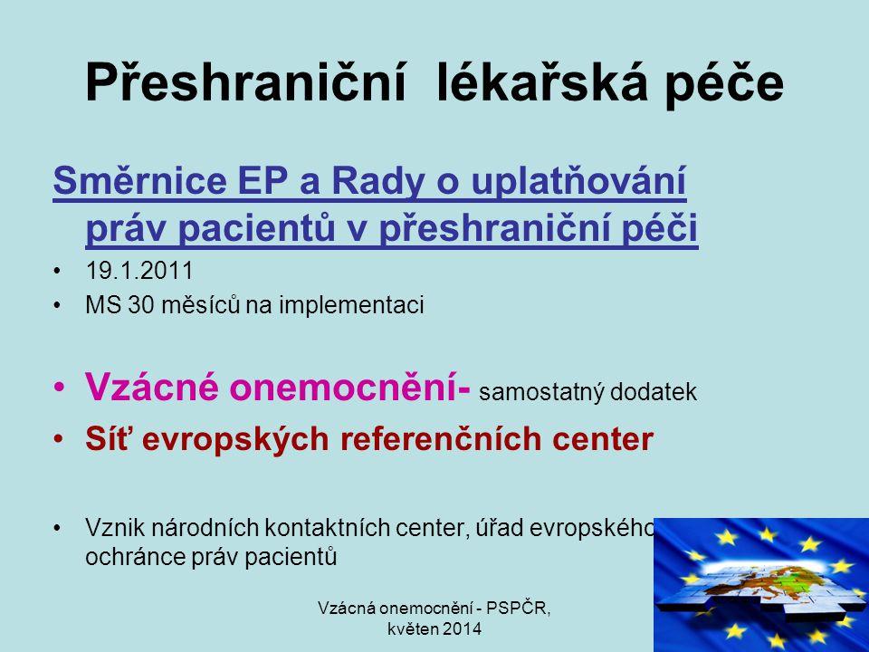 Vzácná onemocnění - PSPČR, květen 2014 Přeshraniční lékařská péče Směrnice EP a Rady o uplatňování práv pacientů v přeshraniční péči 19.1.2011 MS 30 m
