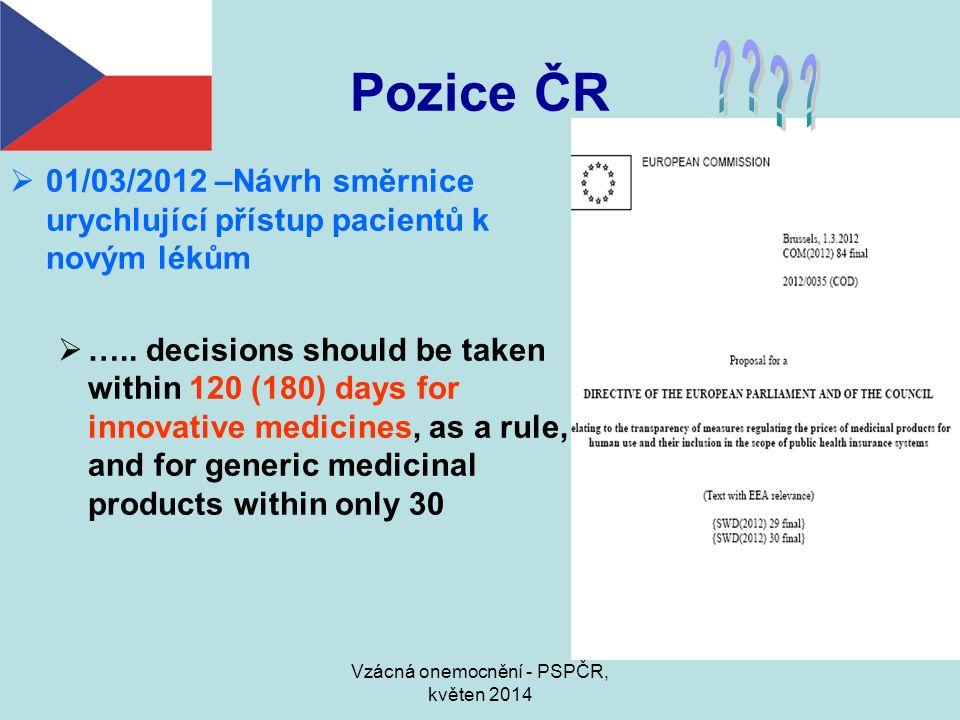 Vzácná onemocnění - PSPČR, květen 2014 Pozice ČR  01/03/2012 –Návrh směrnice urychlující přístup pacientů k novým lékům  ….. decisions should be tak