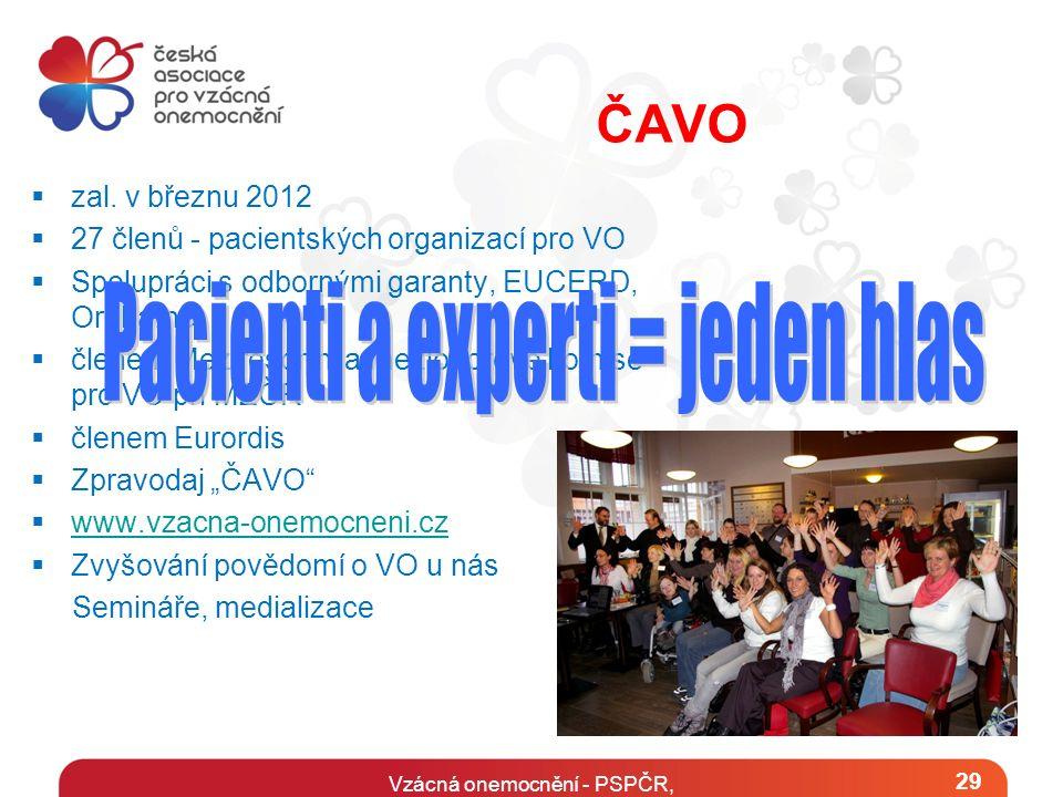Vzácná onemocnění - PSPČR, květen 20141 29 ČAVO  zal. v březnu 2012  27 členů - pacientských organizací pro VO  Spolupráci s odbornými garanty, EUC