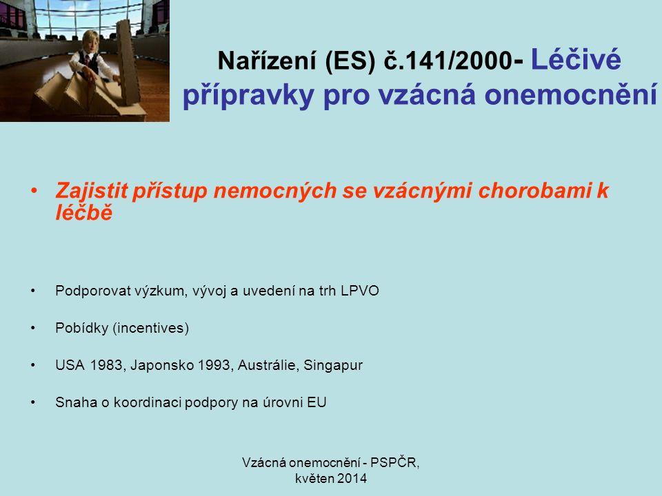 Vzácná onemocnění - PSPČR, květen 2014 Nařízení (ES) č.141/2000 - Léčivé přípravky pro vzácná onemocnění Zajistit přístup nemocných se vzácnými chorobami k léčbě Podporovat výzkum, vývoj a uvedení na trh LPVO Pobídky (incentives) USA 1983, Japonsko 1993, Austrálie, Singapur Snaha o koordinaci podpory na úrovni EU